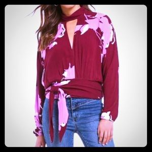 Free People Say You Luv Me Floral Blouse - Plum